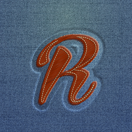 typeset: Embroidered Realistic character from the typeset, vector