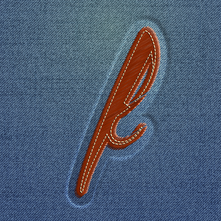embroidered: Embroidered Realistic character from the typeset, vector