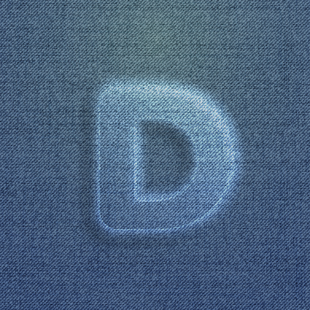 typeset: Character made by denim, from the typeset, vector Illustration