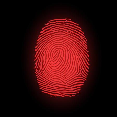 theft proof: Red fingerprint on black background, vector illustration