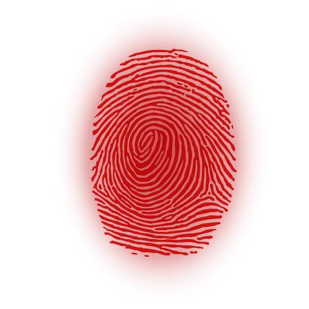 csi: Red fingerprint on white background, vector illustration Illustration