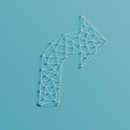 An arrow made by lines and pins, realistic 3D, vector illustration