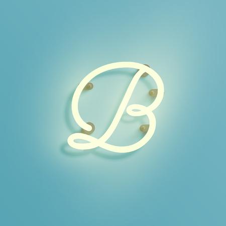 Neon font, vector illustration.