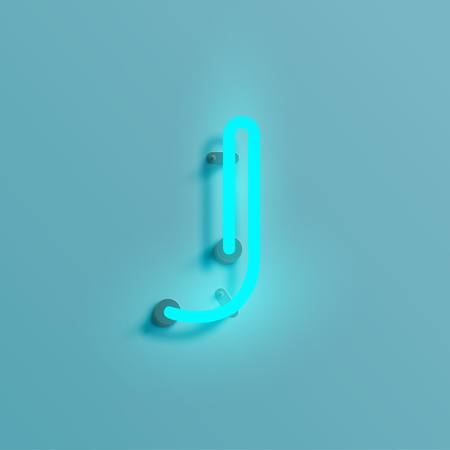 Neon glowing font illustration on blue background. Illustration