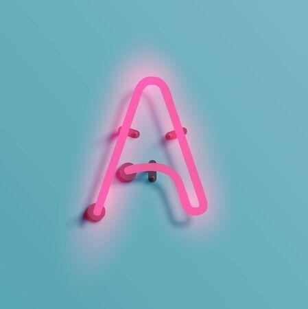 Alfabeto 'A' en fuente de neón, ilustración vectorial. Vectores