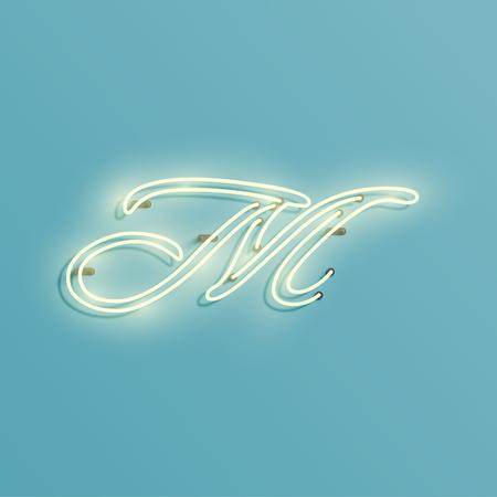 Neon font M, vector illustration design for decoration Illustration