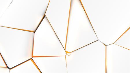Broken surface with orange color in the inside, vector illustration