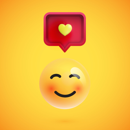 Funny 3D emoticon with 3D speech bubble and a heart, vector illustration Illustration