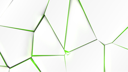Broken surface with green color in the inside, vector illustration Illustration