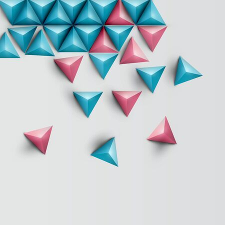 3D realistic triangle background, vector illustration Illustration