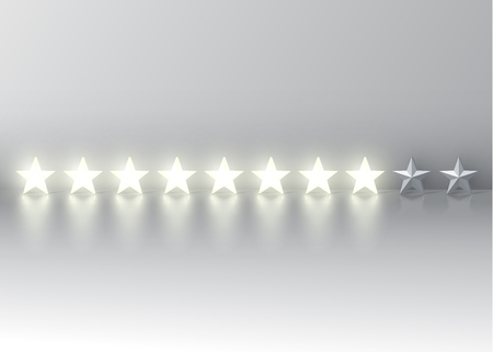 Eight-star rating with glowing 3D stars, vector illustration