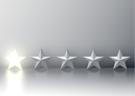 One-star rating with glowing 3D star, vector illustration Ilustrace