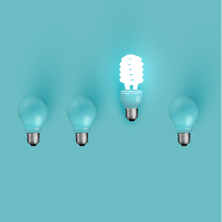Energy saver lightbulb among old ones, vector illustration