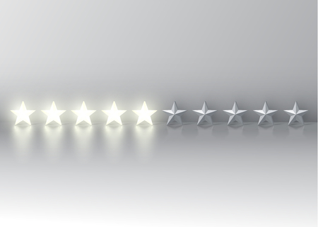 Five-star rating with glowing 3D stars, vector illustration