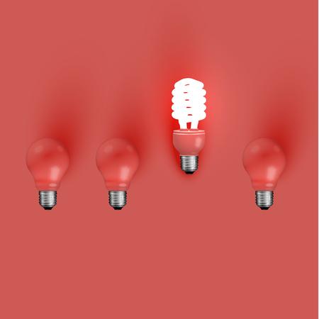 Energy saver lightbulb among old ones, vector illustration