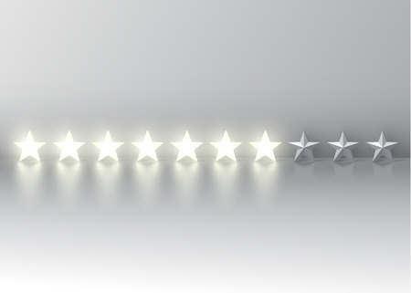 Seven-star rating with glowing 3D stars, vector illustration