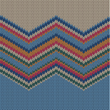 Zigzag Colorful Knitted Pattern For Background Vector Illustration
