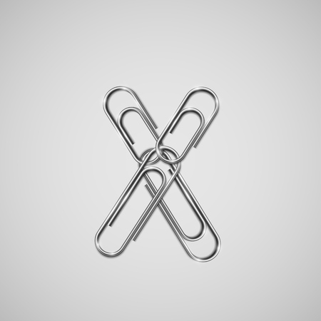 Linked paperclips forming a character, vector Vetores