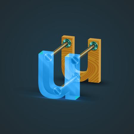 3D, personaje realista de vidrio y madera, vector Ilustración de vector