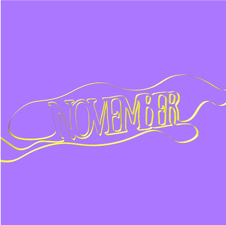 Ribbon font forms November, vector illustration