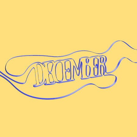 Ribbon font forms December, vector illustration