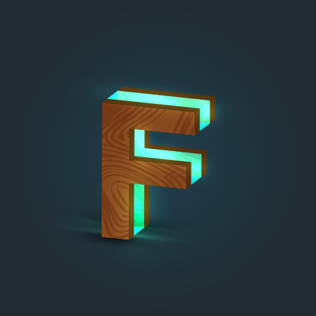 Carattere 3D, realistico, in vetro e legno da un carattere tipografico, vettore Vettoriali