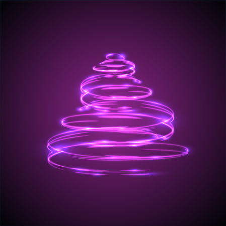Christmas tree glowing and sparkling effect for advertising
