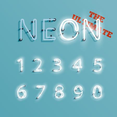 Realistic neon character set, vector illustration