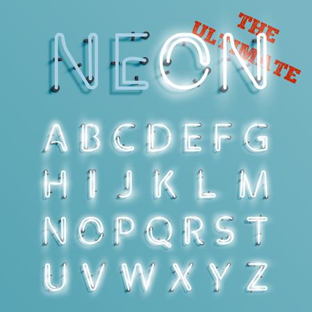 Realistic neon character set, vector illustration Vetores