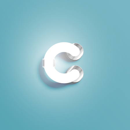 Realistic neon character from a fontset, vector illustration Ilustração