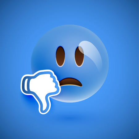 Emoticon with thumbs up, vector illustration 일러스트