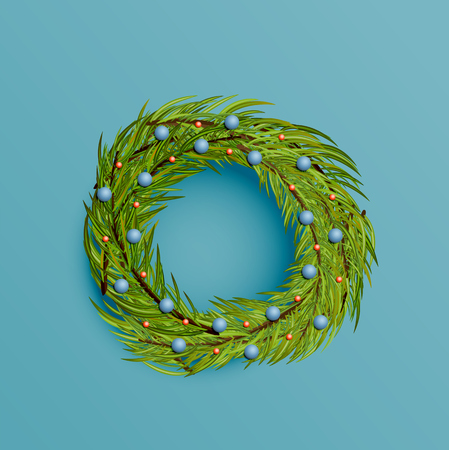 Realistic wreath with gold ribbon for Christmas, vector illustration Imagens - 124823113