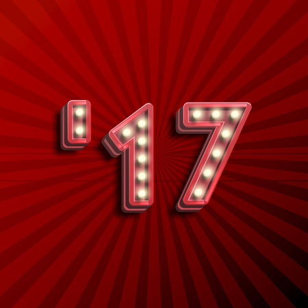 17 3D text for the new year with lightbulbs glowing, vector illustration Illustration