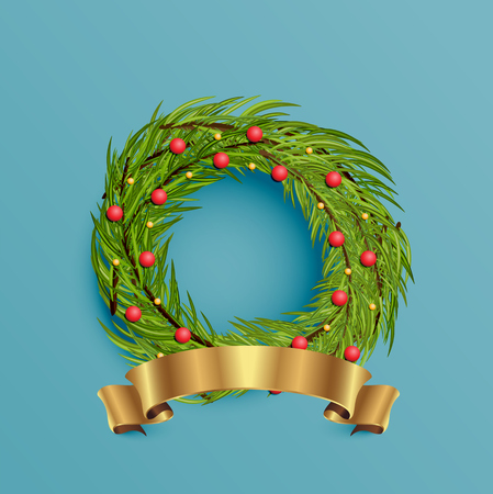 Realistic wreath with gold ribbon for Christmas, vector illustration Imagens - 124823143