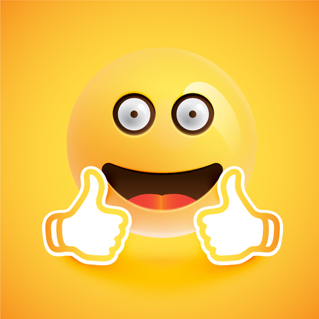 Emoticon with thumbs up, vector illustration Ilustracja