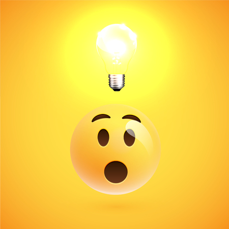 Realistic wondering yellow emoticon with a ligtbulb, vector illustration