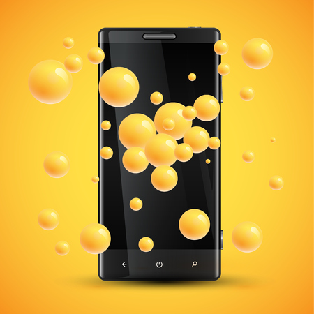 Cellphones enhanced saturation presentation by colorful spheres behind, vector illustration