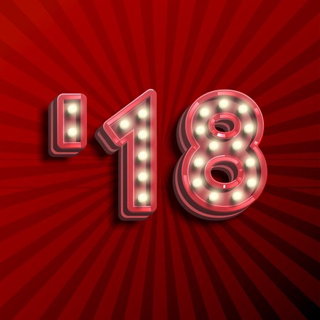 18 3D text for the new year with lightbulbs glowing, vector illustration