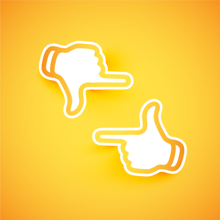 Abstract papercut hands forming a frame, vector illustration