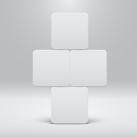 White template for websites or products, realistic vector illustration