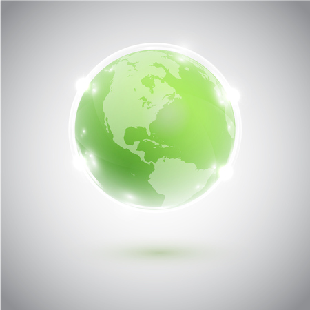 Green globe, vector illustration