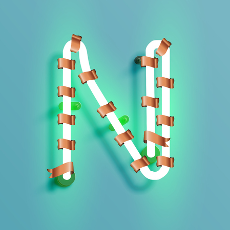 Neon font from a fontset with Christmas decoration pine, vector illustration