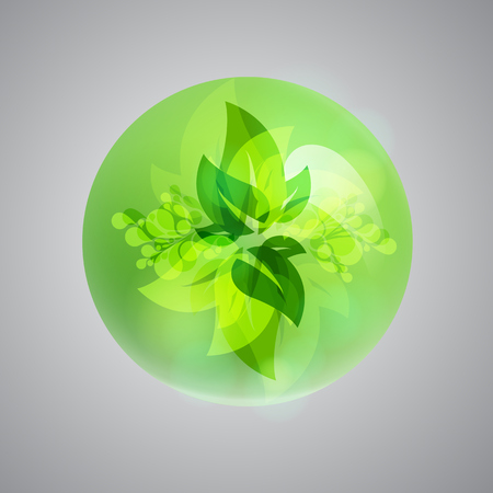 Shiny green bubble, vector illustration Ilustrace