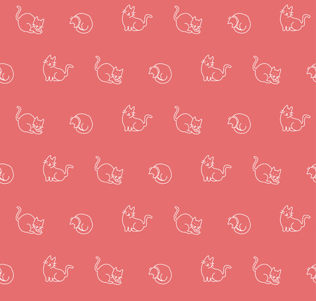 Hand drawn cats seamless pattern, vector illustration