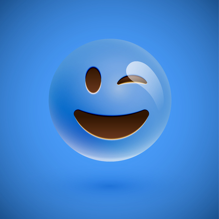 Blue realistic emoticon smiley face, vector illustration