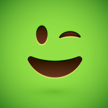 Green realistic emoticon smiley face, vector illustration Vektorové ilustrace