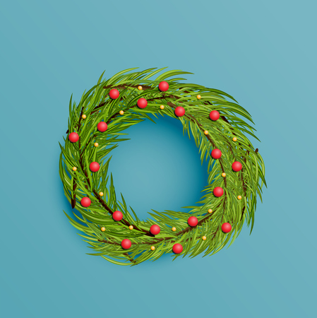 Realistic wreath with gold ribbon for Christmas, vector illustration Stock Vector - 124823473