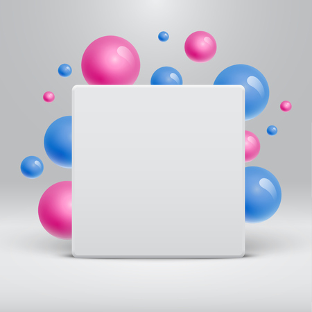 Blank white template with colorful balls floating around for advertising, vector illustration
