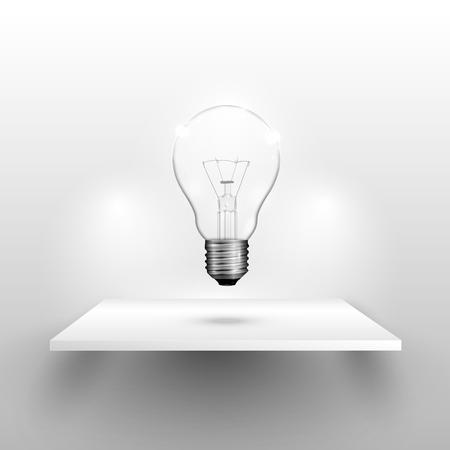 Lightbulb on a shelf, realistic vector illustration