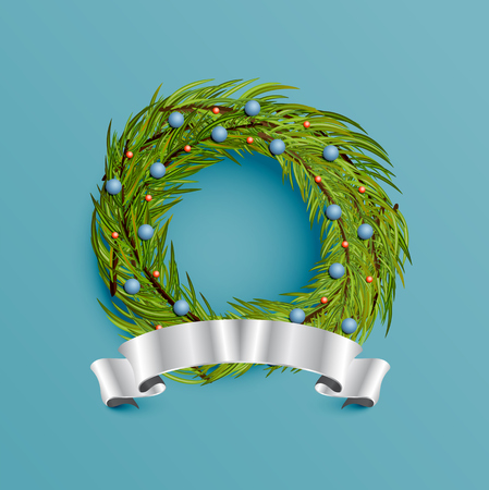 Realistic wreath with gold ribbon for Christmas, vector illustration Imagens - 124823510